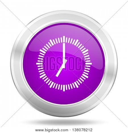 time round glossy pink silver metallic icon, modern design web element