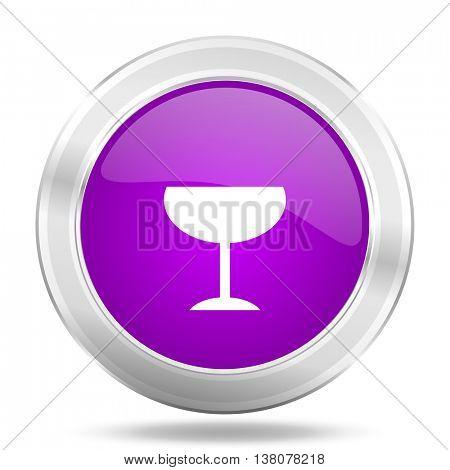 alcohol  round glossy pink silver metallic icon, modern design web element