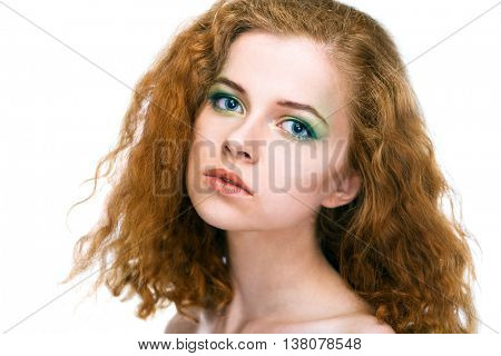 beauty young woman face on white background