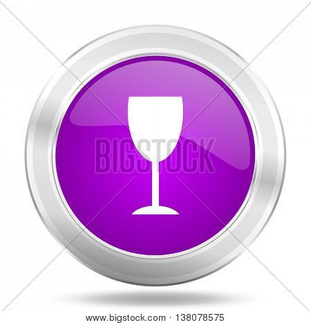 alcohol  round glossy pink silver metallic icon, modern design web element