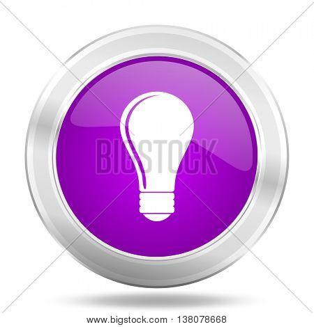 bulb round glossy pink silver metallic icon, modern design web element