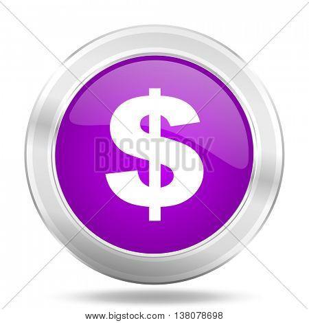 dollar round glossy pink silver metallic icon, modern design web element