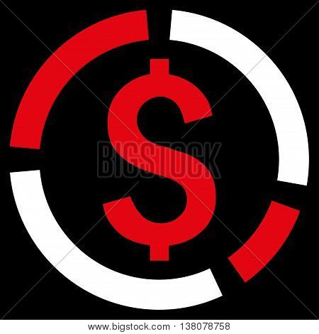 Financial Diagram vector icon. Style is bicolor flat symbol, red and white colors, black background.