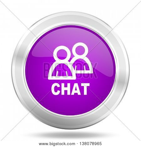 chat round glossy pink silver metallic icon, modern design web element