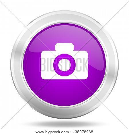 camera round glossy pink silver metallic icon, modern design web element