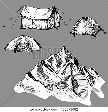 Hand drawn vector landscape with tent and mountains. sketch. vector eps 8