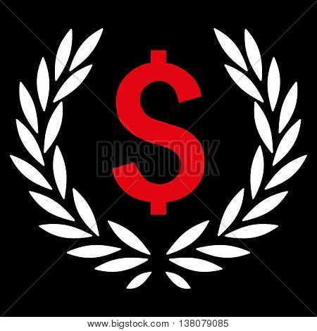 Laurel Bank Emblem vector icon. Style is bicolor flat symbol, red and white colors, black background.