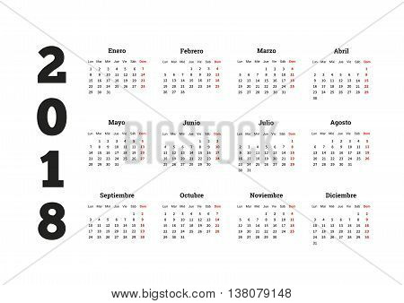 2018 year simple calenar in spanish, isolated on white