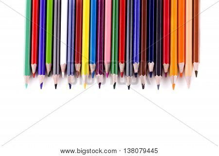 back to school border of multicolored pensils isolated on white background