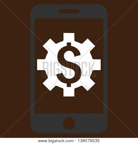 Mobile Bank Setup vector icon. Style is flat symbol, white color, brown background.
