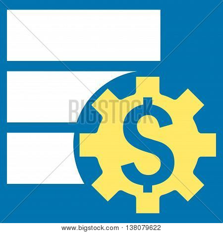 Bank Database Options vector icon. Style is bicolor flat symbol, yellow and white colors, blue background.