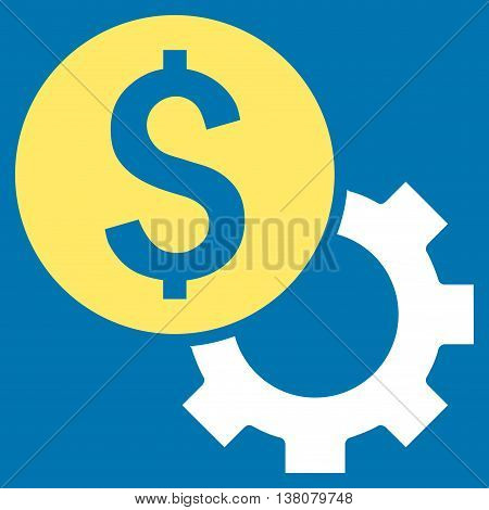 Development Cost vector icon. Style is bicolor flat symbol, yellow and white colors, blue background.