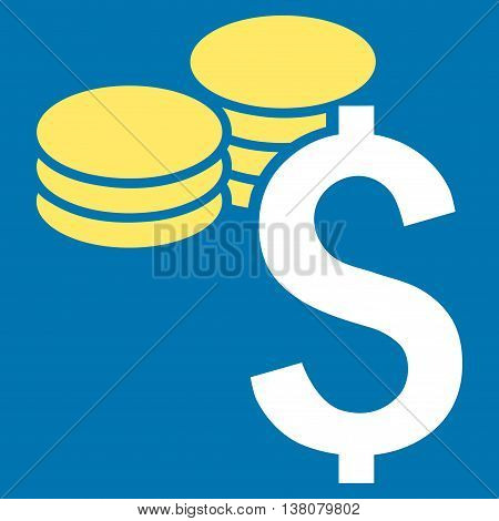 Dollar Coins vector icon. Style is bicolor flat symbol, yellow and white colors, blue background.