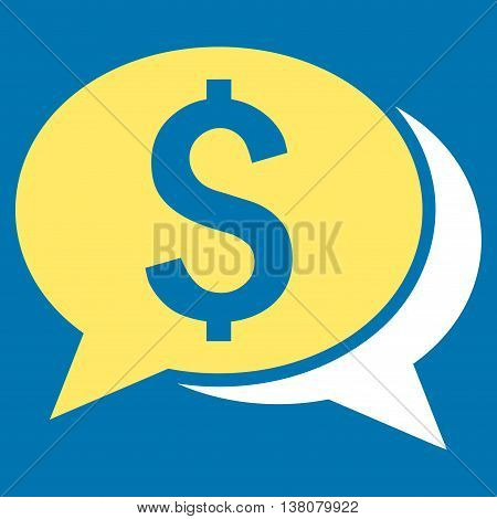 Financial Chat vector icon. Style is bicolor flat symbol, yellow and white colors, blue background.