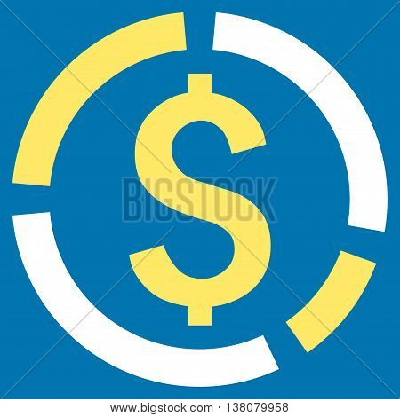 Financial Diagram vector icon. Style is bicolor flat symbol, yellow and white colors, blue background.