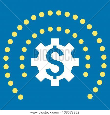Financial Industry Protection vector icon. Style is bicolor flat symbol, yellow and white colors, blue background.