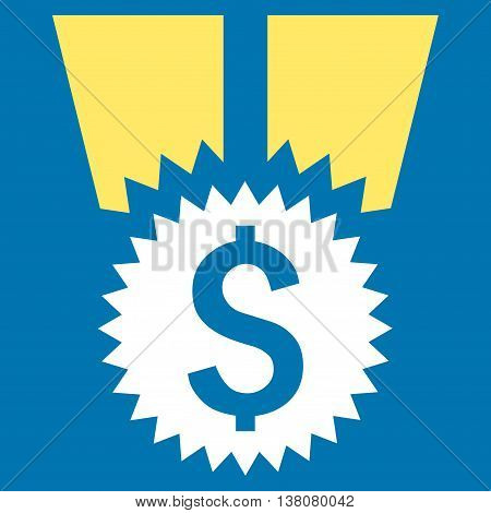 Financial Medal vector icon. Style is bicolor flat symbol, yellow and white colors, blue background.