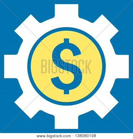 Financial Options vector icon. Style is bicolor flat symbol, yellow and white colors, blue background.