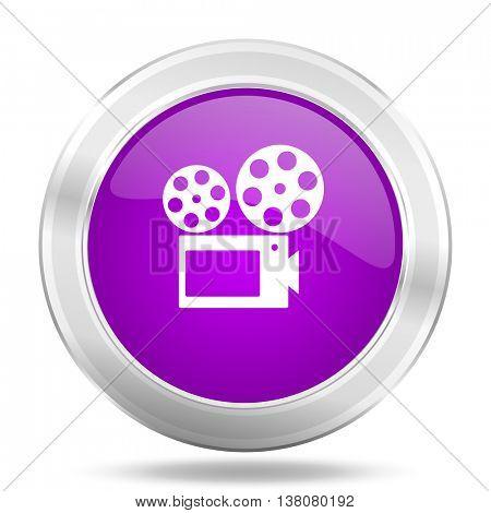 movie round glossy pink silver metallic icon, modern design web element