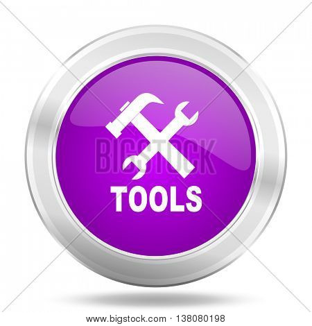 tools round glossy pink silver metallic icon, modern design web element