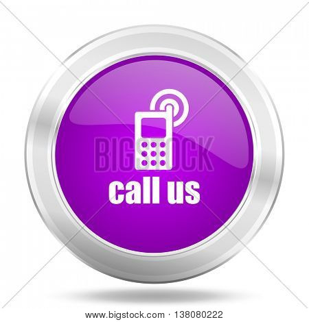call us round glossy pink silver metallic icon, modern design web element