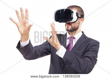 Business man using a VR headset, isolated on white background