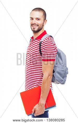 Portrait of a male student holding notebooks, isolated on white background