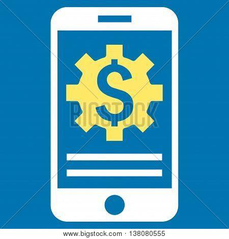 Mobile Bank Options vector icon. Style is bicolor flat symbol, yellow and white colors, blue background.