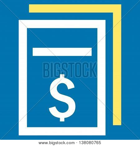 Price Copy vector icon. Style is bicolor flat symbol, yellow and white colors, blue background.