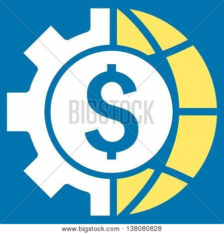 World Industry Finances vector icon. Style is bicolor flat symbol, yellow and white colors, blue background.