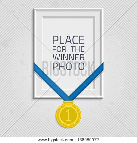 Vector photo frame template with medal competition winner. Frame to win the competition. Gold medal on isolated background frames. Frame with a medal of the winner. Concept of an award of the winner.
