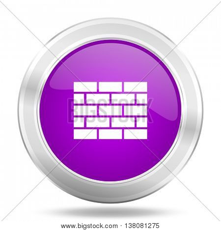 firewall round glossy pink silver metallic icon, modern design web element