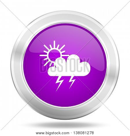 storm round glossy pink silver metallic icon, modern design web element