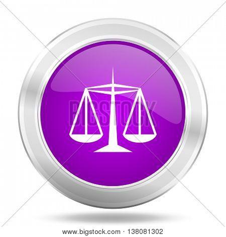 justice round glossy pink silver metallic icon, modern design web element