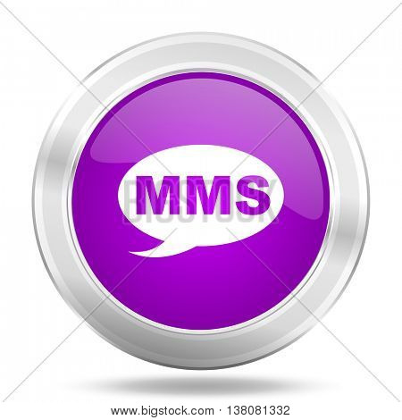 mms round glossy pink silver metallic icon, modern design web element
