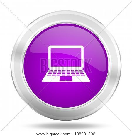 computer round glossy pink silver metallic icon, modern design web element