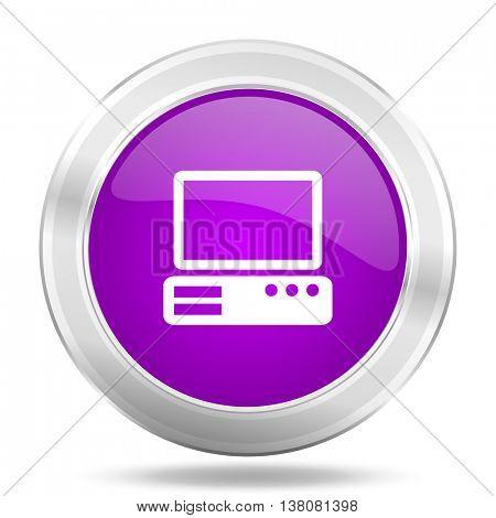 computer round glossy pink silver metallic icon, modern design web element