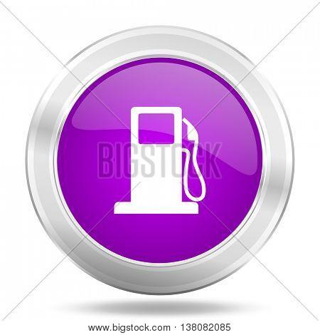petrol round glossy pink silver metallic icon, modern design web element