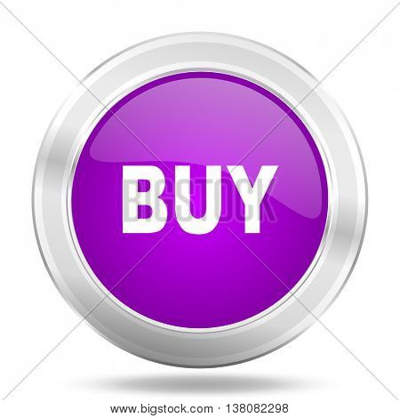 buy round glossy pink silver metallic icon, modern design web element
