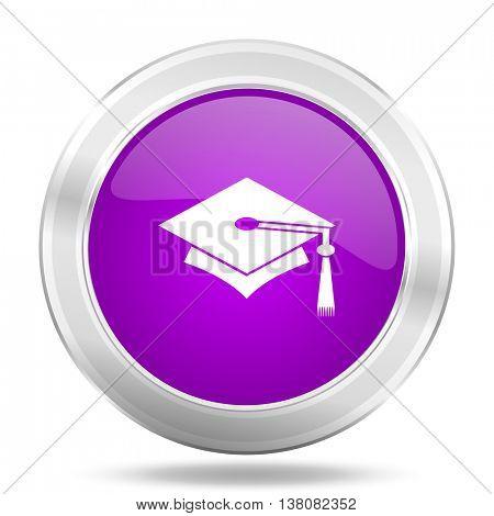 education round glossy pink silver metallic icon, modern design web element