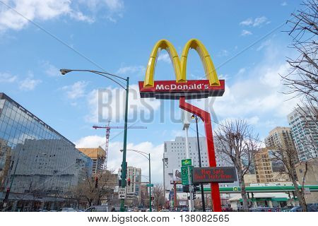 CHICAGO, IL -  MARCH 31, 2016:  McDonald's signage logo outside of the Rock N Roll McDonald's. The Original Rock N Roll McDonald's is a flagship McDonald's restaurant located in Chicago, Illinois