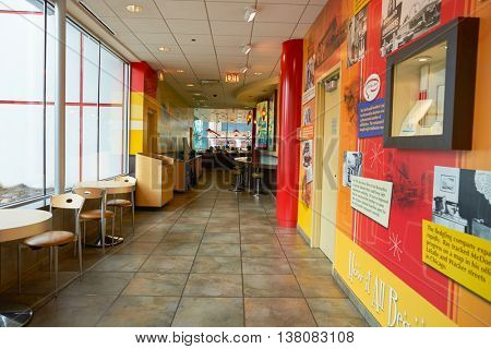 CHICAGO, IL -  MARCH 31, 2016: the upstairs museum in the Rock N Roll McDonald's. The Original Rock N Roll McDonald's is a flagship McDonald's restaurant located in Chicago, Illinois