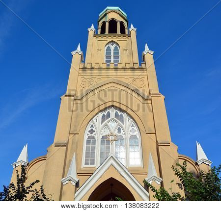 SAVANNAH GEORGIA USA 06 29 2016: Congregation Mickve Israel is one of the oldest in the United States,was organized by mostly Sephardic Jewish immigrants of Spanish-Portuguese extraction from London