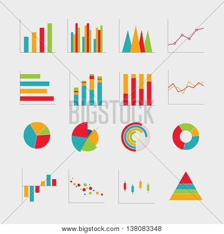 Collection of business diagrams charts vector illustration