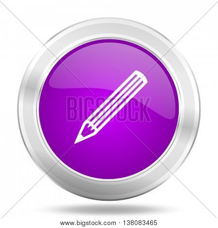 pencil round glossy pink silver metallic icon, modern design web element