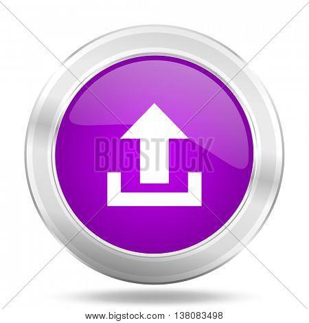 upload round glossy pink silver metallic icon, modern design web element