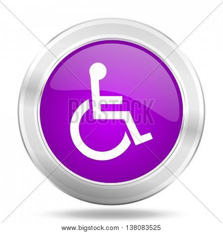 wheelchair round glossy pink silver metallic icon, modern design web element