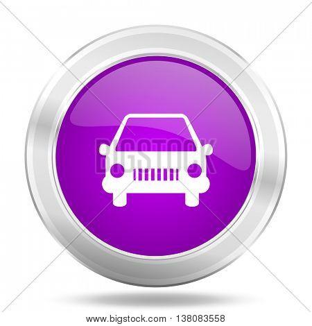 car round glossy pink silver metallic icon, modern design web element