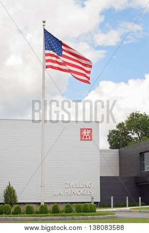 July 10, 2016: The Zwilling J.A. Henckels building with American flag in Pleasantville, NY, Westchester, USA.