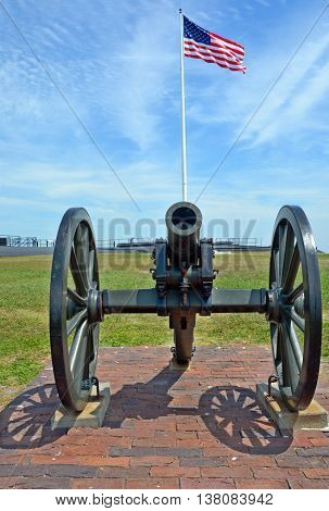 CHARLESTON SC 06 25 2016: Canon Fort Sumter is a sea fort in Charleston notable for 2 battles of the American Civil War. was one of a number of many special forts planned after the War of 1812
